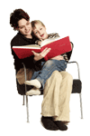 Image of parent sitting with child on knee reading a book together